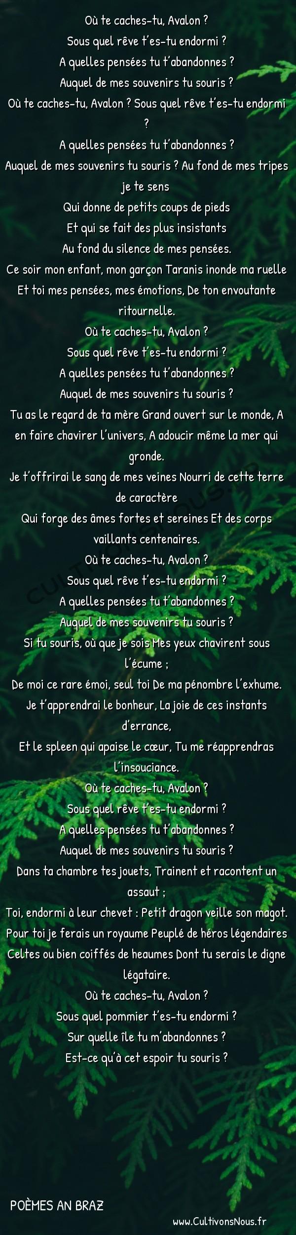 Poésies contemporaines - Poèmes An Braz - Avalon -  Où te caches-tu, Avalon ? Sous quel rêve t'es-tu endormi ?