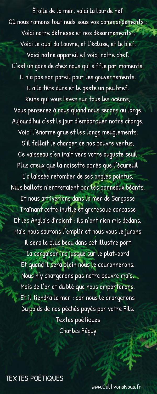 Poésies Charles Péguy - Textes poétiques - Présentation de Paris à Notre-Dame -  Étoile de la mer, voici la lourde nef Où nous ramons tout nuds sous vos commandements ;