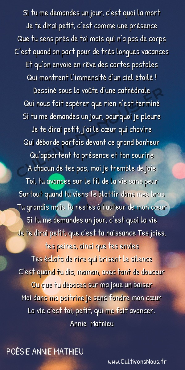 Poésies contemporaines - poésie Annie Mathieu - Si tu me demandes…………… -  Si tu me demandes un jour, c'est quoi la mort Je te dirai petit, c'est comme une présence