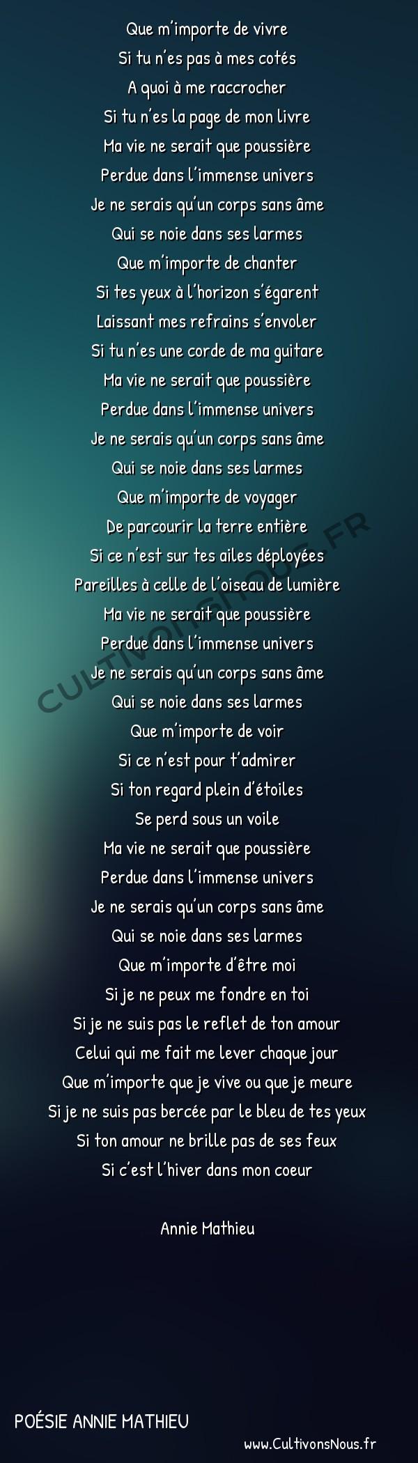 Poésies contemporaines - poésie Annie Mathieu - Que m'importe -  Que m'importe de vivre Si tu n'es pas à mes cotés