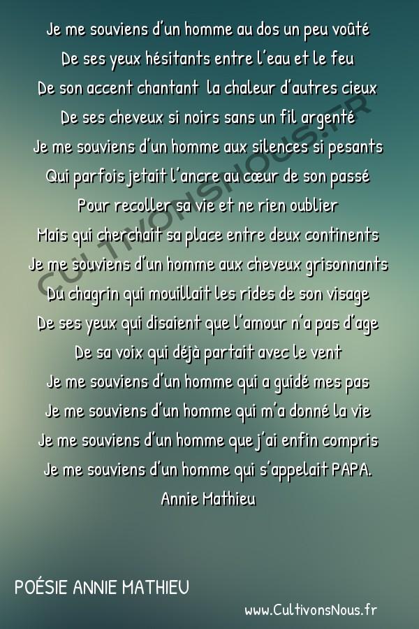 Poésies contemporaines - poésie Annie Mathieu - Je me souviens -  Je me souviens d'un homme au dos un peu voûté De ses yeux hésitants entre l'eau et le feu