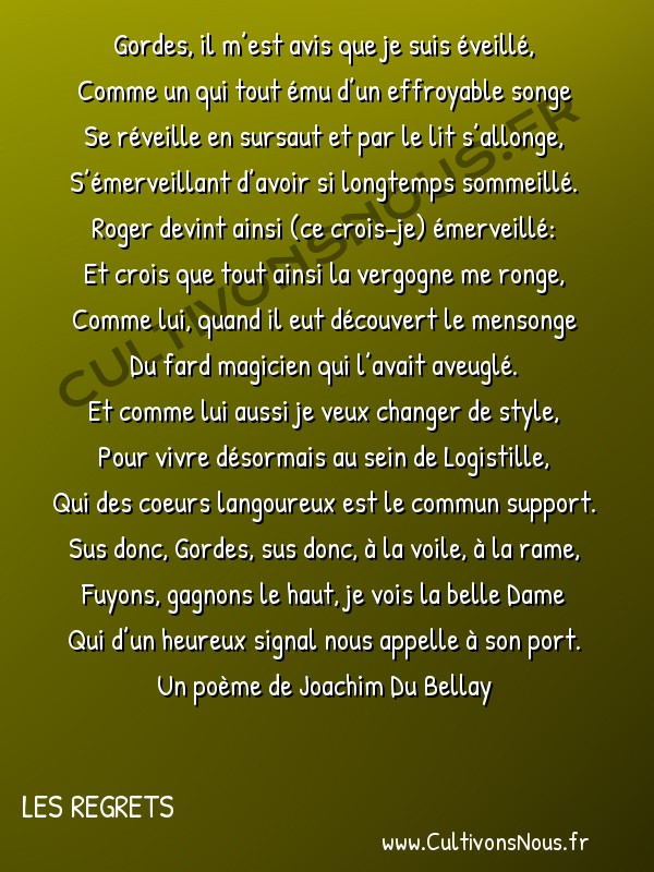 Poésie Joachim Du Bellay - Les Regrets - Gordes il m'est avis que je suis éveillé -  Gordes, il m'est avis que je suis éveillé, Comme un qui tout ému d'un effroyable songe