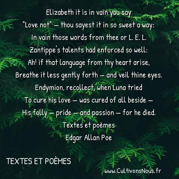 Poésies Edgar Allan Poe - Textes et poèmes - An Acrostic -  Elizabeth it is in vain you say