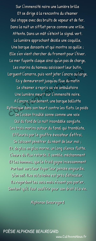 Poésie Alphonse Beauregard - Le blé despotique -  Sur l'immensité noire une lumière brille Et se dirige à la rencontre du steamer