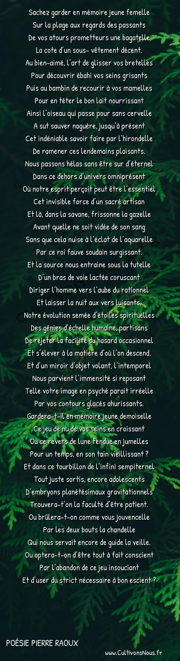 Poésies contemporaines - Poésie Pierre Raoux - Contre-jour -  Sachez garder en mémoire jeune femelle Sur la plage aux regards des passants
