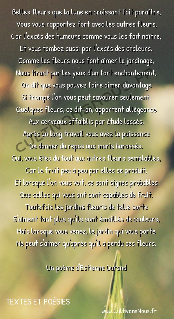 Poésie Estienne Durand - Textes et poésies - Stances sur des fleurs -  Belles fleurs que la lune en croissant fait paraître, Vous vous rapportez fort avec les autres fleurs,