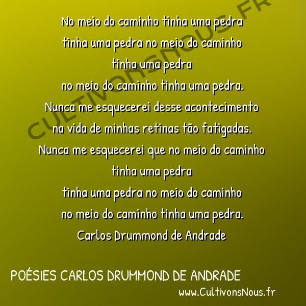 Poésies Brésiliennes - Auteurs Brésiliens - Poète Carlos Drummond de Andrade - Poésies Carlos Drummond de Andrade - No meio do caminho -  No meio do caminho tinha uma pedra tinha uma pedra no meio do caminho