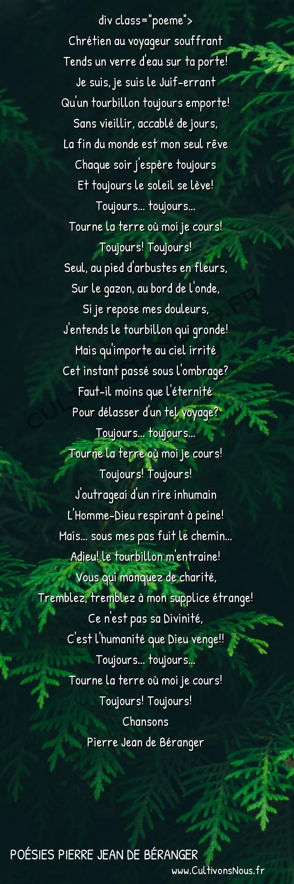 Poésies Pierre Jean de Béranger - Chansons - Le Juif-errant -  div class=