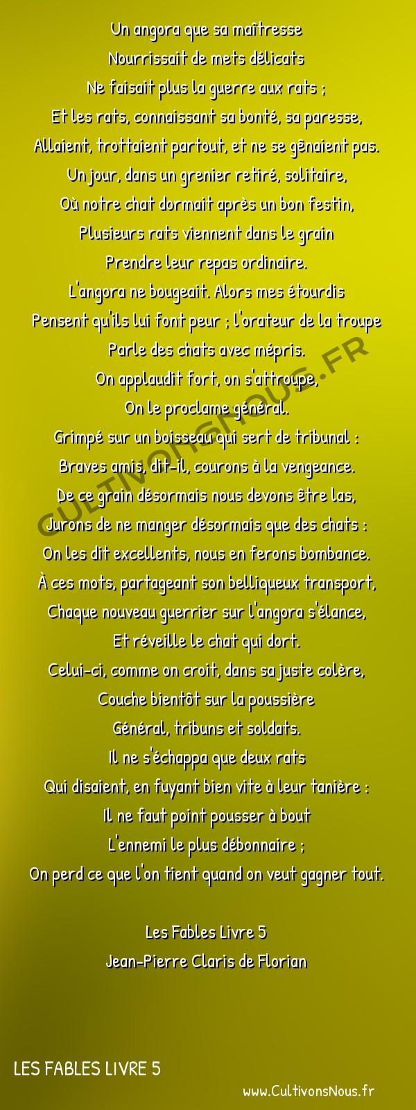 Poésie Jean-Pierre Claris de Florian - Les Fables Livre 5 - Le chat et les rats -  Un angora que sa maîtresse Nourrissait de mets délicats