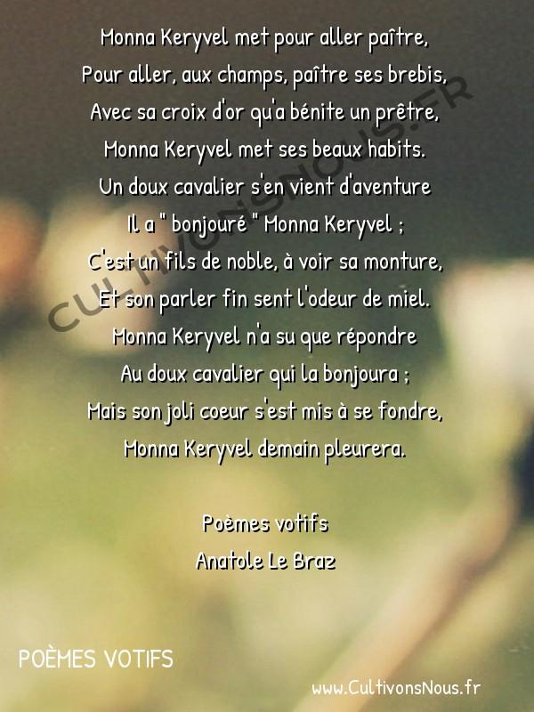 Poésie Anatole Le Braz - Poèmes votifs - La lépreuse -  Monna Keryvel met pour aller paître, Pour aller, aux champs, paître ses brebis,
