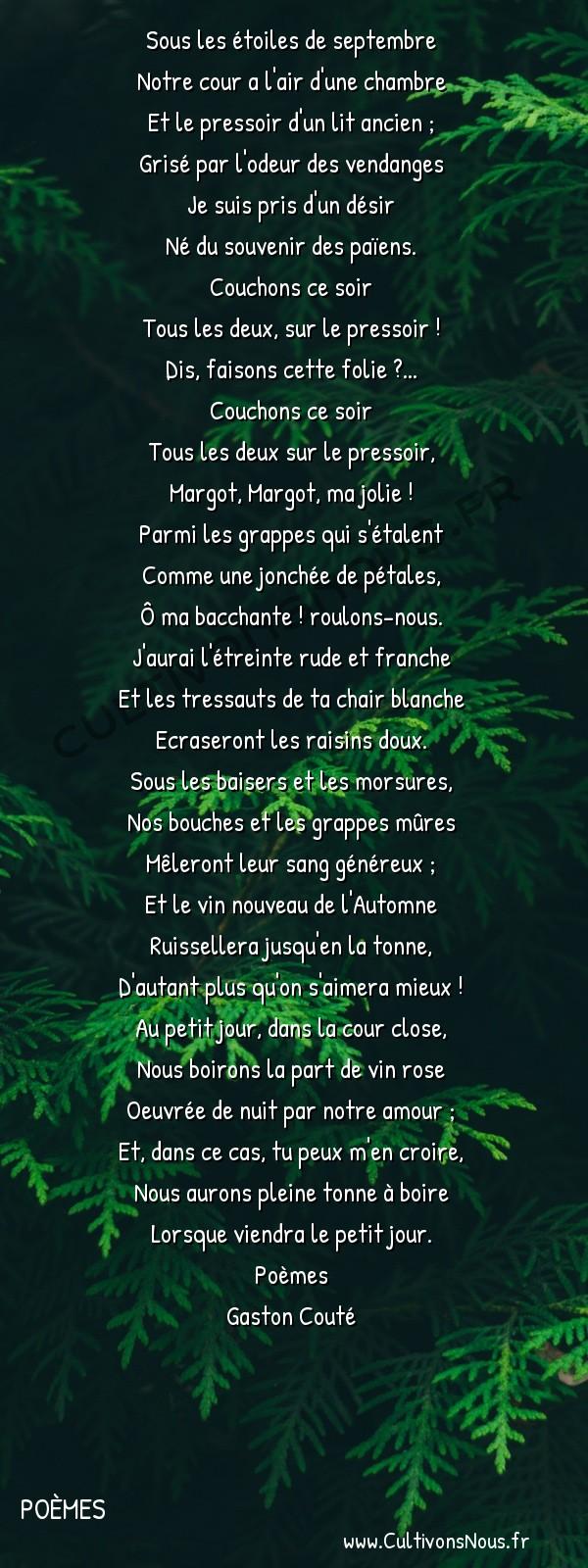 Poésie Gaston Couté - Poèmes - Sur le pressoir -  Sous les étoiles de septembre Notre cour a l'air d'une chambre