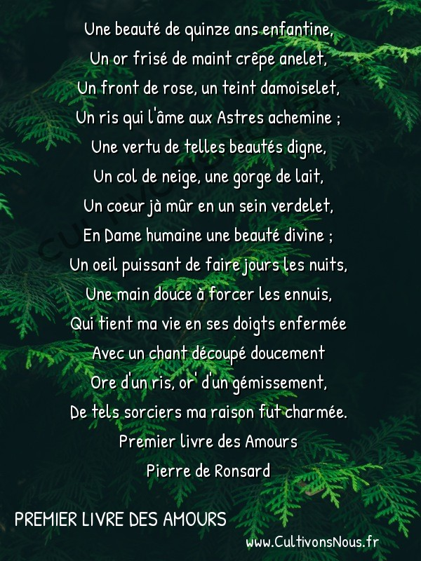 Poésie Pierre de Ronsard - Premier livre des Amours - Une beauté de quinze ans enfantine -  Une beauté de quinze ans enfantine, Un or frisé de maint crêpe anelet,