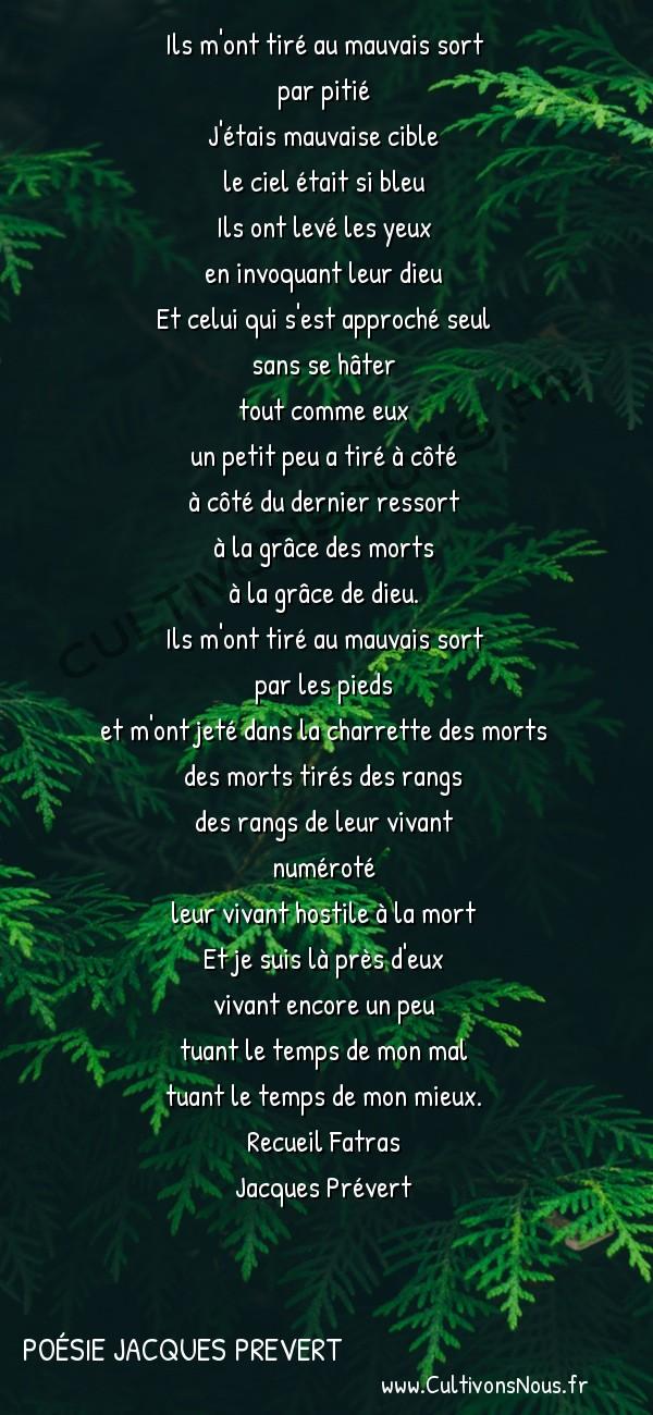 Poésie Jacques Prevert - Fatras - Complainte du fusille -  Ils m'ont tiré au mauvais sort par pitié