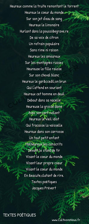 Poésie Jacques Prevert - Textes poétiques - Fête foraine -  Heureux comme la truite remontant le torrent Heureux le coeur du monde