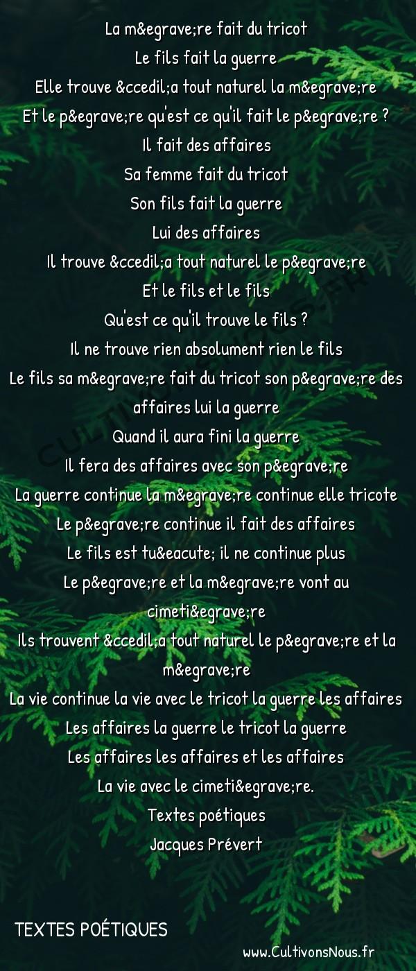 Poésie Jacques Prevert - Textes poétiques - Familiale -  La mère fait du tricot Le fils fait la guerre