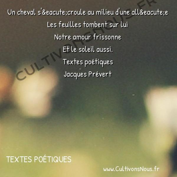 Poésie Jacques Prevert - Textes poétiques - L'automne -  Un cheval s'écroule au milieu d'une allée Les feuilles tombent sur lui