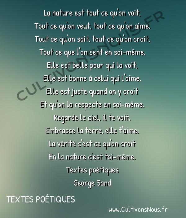 Poésie George Sand - Textes poétiques - À Aurore -  La nature est tout ce qu'on voit, Tout ce qu'on veut, tout ce qu'on aime.