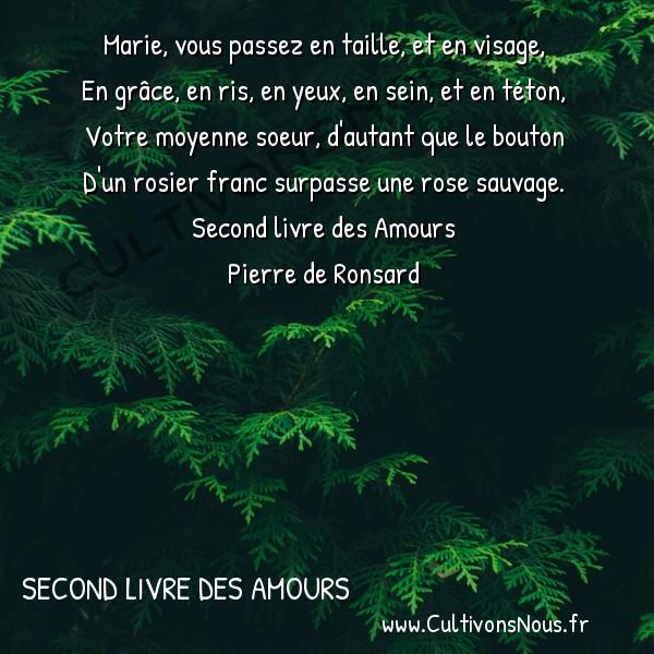 Poésie Pierre de Ronsard - Second livre des Amours - Marie vous passez en taille et en visage -  Marie, vous passez en taille, et en visage, En grâce, en ris, en yeux, en sein, et en téton,