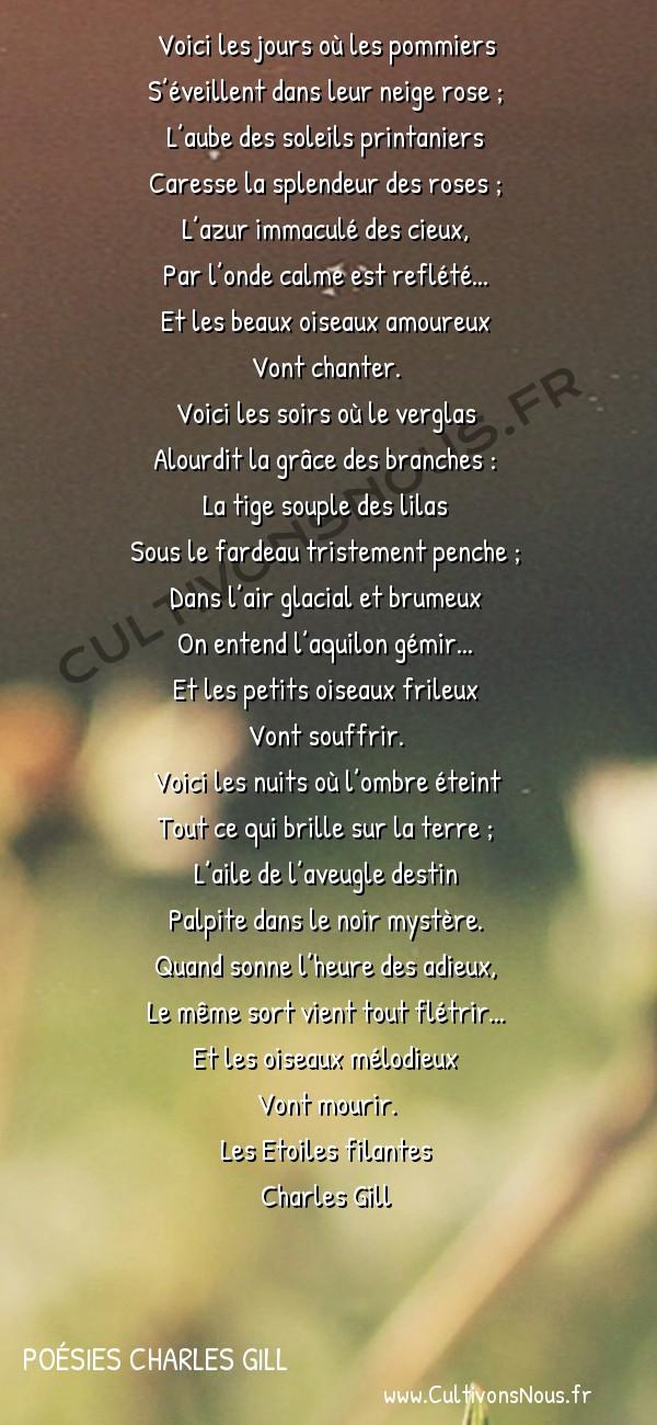 Poésies Charles Gill - Les Étoiles filantes - Fantaisie -  Voici les jours où les pommiers S'éveillent dans leur neige rose ;