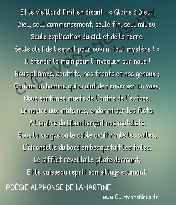 Poésie Alphonse de Lamartine - La Chute d'un Ange - Epilogue -  Et le vieillard finit en disant: «Gloire à Dieu! Dieu, seul commencement, seule fin, seul milieu,