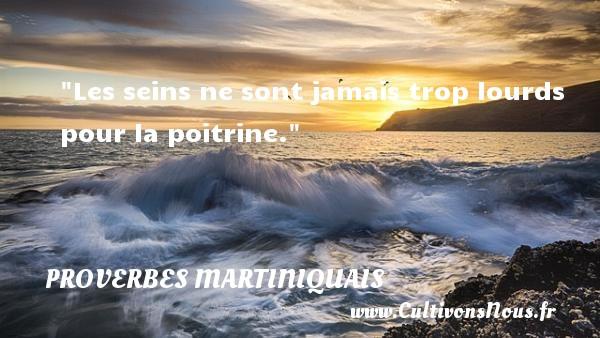 Les seins ne sont jamais trop lourds pour la poitrine. Un Proverbe martiniquais PROVERBES MARTINIQUAIS