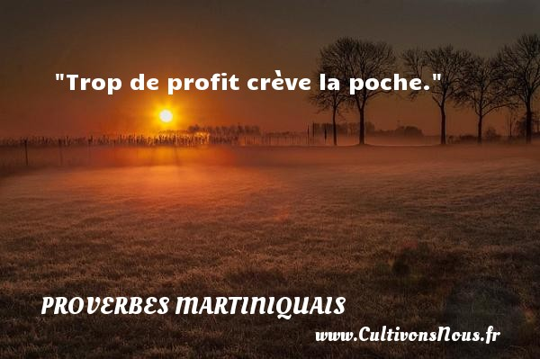 Trop de profit crève la poche. Un Proverbe martiniquais PROVERBES MARTINIQUAIS