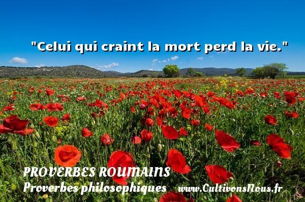 Proverbes roumains - Proverbes philosophiques - Proverbes vie - Celui qui craint la mort perd la vie. Un Proverbe roumain PROVERBES ROUMAINS