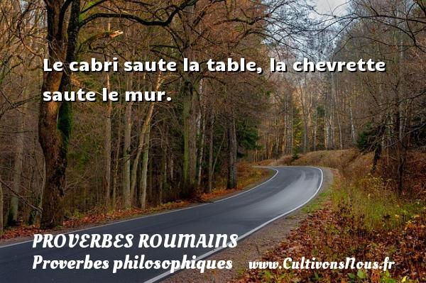 Proverbes roumains - Proverbes philosophiques - Le cabri saute la table, la chevrette saute le mur. Un Proverbe roumain PROVERBES ROUMAINS