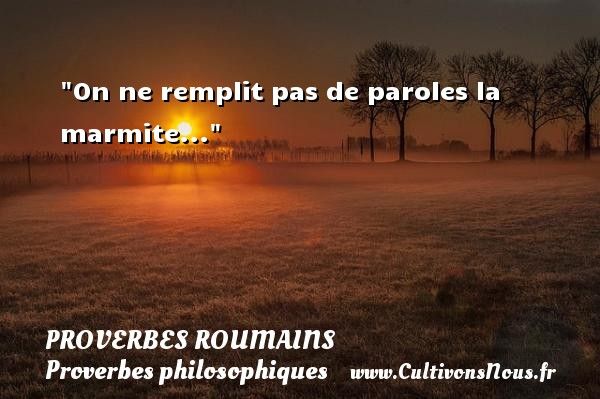 On ne remplit pas de paroles la marmite... Un Proverbe roumain PROVERBES ROUMAINS - Proverbes philosophiques