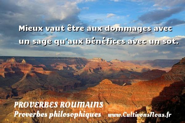 Proverbes roumains - Proverbes philosophiques - Mieux vaut être aux dommages avec un sage qu aux bénéfices avec un sot. Un Proverbe roumain PROVERBES ROUMAINS