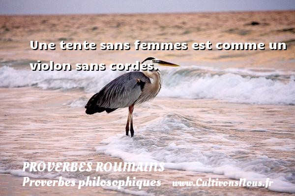Une tente sans femmes est comme un violon sans cordes. Un Proverbe roumain PROVERBES ROUMAINS - Proverbes philosophiques