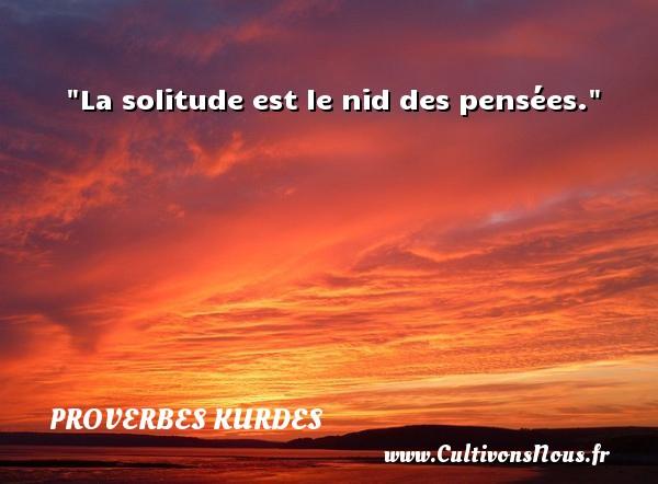 Proverbes kurdes - Proverbes penser - La solitude est le nid des pensées. Un proverbe kurde PROVERBES KURDES