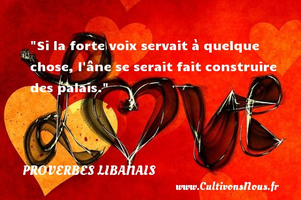 Proverbes libanais - Si la forte voix servait à quelque chose, l âne se serait fait construire des palais. Un proverbe libanais PROVERBES LIBANAIS