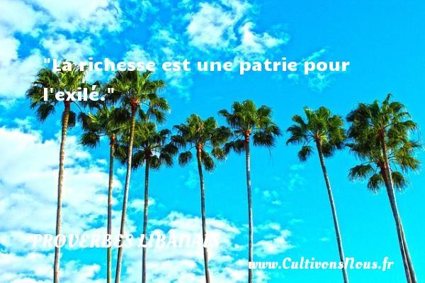 Proverbes libanais - Proverbes richesse - La richesse est une patrie pour l exilé. Un proverbe libanais PROVERBES LIBANAIS