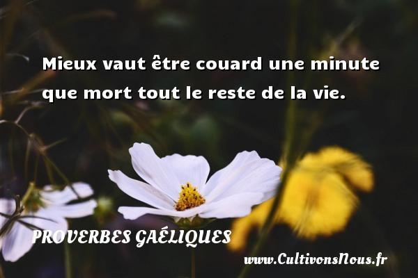 Proverbes gaéliques - Mieux vaut être couard une minute que mort tout le reste de la vie. Un proverbe gaélique PROVERBES GAÉLIQUES