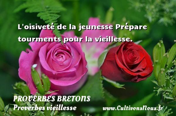 Proverbes bretons - Proverbes vieillesse - L oisiveté de la jeunesse Prépare tourments pour la vieillesse. Un proverbe breton PROVERBES BRETONS