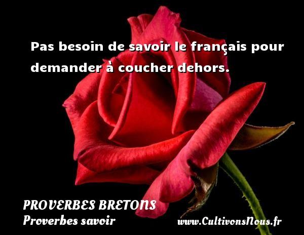Pas besoin de savoir le français pour demander à coucher dehors. Un proverbe breton PROVERBES BRETONS - Proverbes savoir
