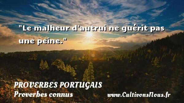 Le malheur d autrui ne guérit pas une peine. Un proverbe portugais PROVERBES PORTUGAIS - Proverbes connus - Proverbes philosophiques