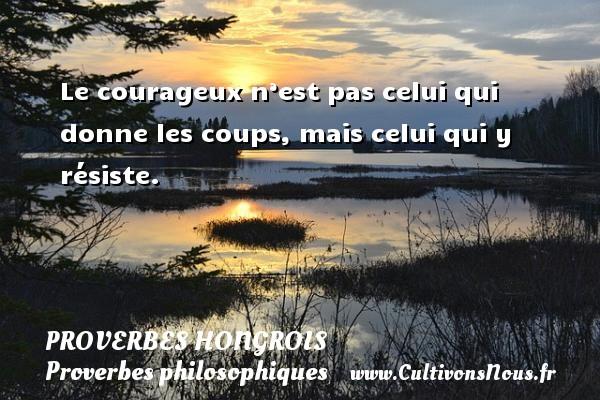 Le courageux n'est pas celui qui donne les coups, mais celui qui y résiste. Un proverbe hongrois PROVERBES HONGROIS - Proverbes philosophiques