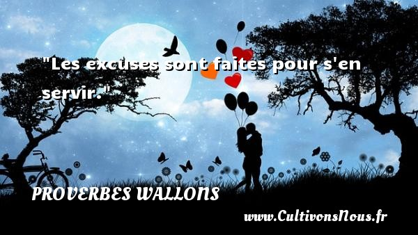 Proverbes wallons - Les excuses sont faites pour s en servir. Un proverbe wallon PROVERBES WALLONS