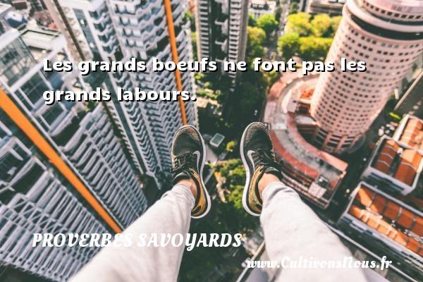 Proverbes savoyards - Les grands boeufs ne font pas les grands labours. Un proverbe savoyard PROVERBES SAVOYARDS