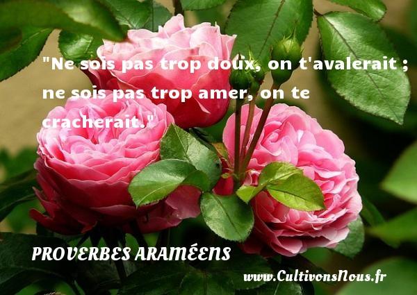 Proverbes araméens - Ne sois pas trop doux, on t avalerait ; ne sois pas trop amer, on te cracherait. Un proverbe araméen PROVERBES ARAMÉENS