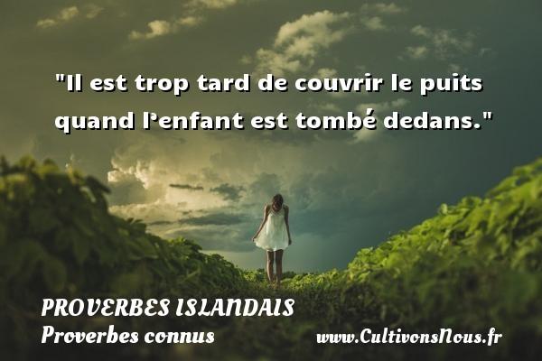 Proverbes islandais - Proverbes connus - Proverbes philosophiques - Il est trop tard de couvrir le puits quand l'enfant est tombé dedans. Un proverbe islandais PROVERBES ISLANDAIS