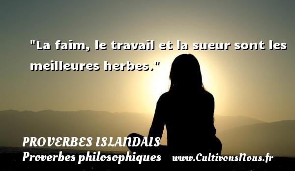 Proverbes islandais - Proverbes philosophiques - La faim, le travail et la sueur sont les meilleures herbes. Un proverbe islandais PROVERBES ISLANDAIS