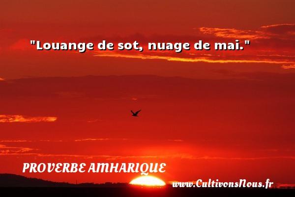 Louange de sot, nuage de mai. Un proverbe amharique PROVERBES AMHARIQUES