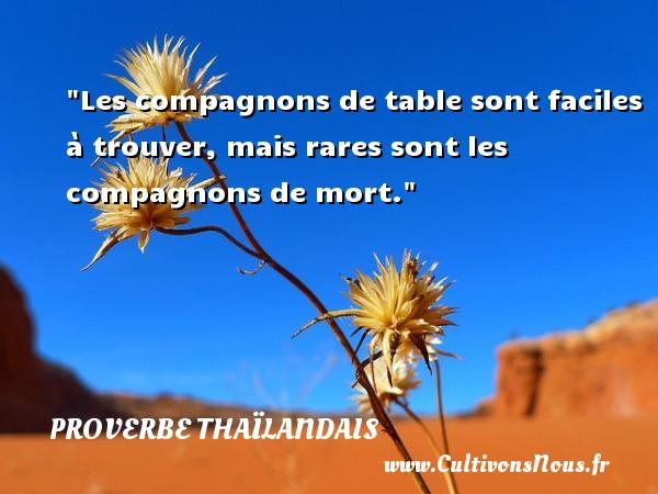 Proverbes thaïlandais - Les compagnons de table sont faciles à trouver, mais rares sont les compagnons de mort. Un proverbe thaïlandais PROVERBES THAÏLANDAIS