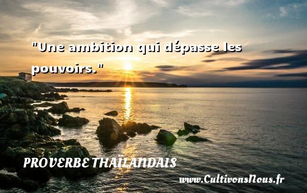 Une ambition qui dépasse les pouvoirs. Un proverbe thaïlandais PROVERBES THAÏLANDAIS - Proverbes thaïlandais - Proverbe ambition