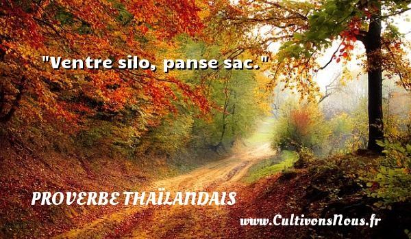 Ventre silo, panse sac. Un proverbe thaïlandais PROVERBES THAÏLANDAIS - Proverbes thaïlandais