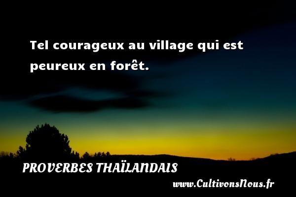 Tel courageux au village qui est peureux en forêt. Un proverbe thaïlandais PROVERBES THAÏLANDAIS - Proverbes thaïlandais