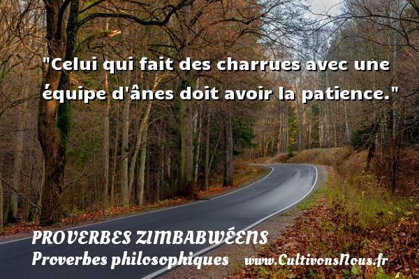 Proverbes zimbabwéens - Proverbes philosophiques - Celui qui fait des charrues avec une équipe d ânes doit avoir la patience. Un proverbe zimbabwéen PROVERBES ZIMBABWÉENS